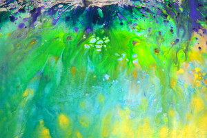 Melting painting of blue and green