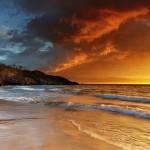 hapuna beach at sunset